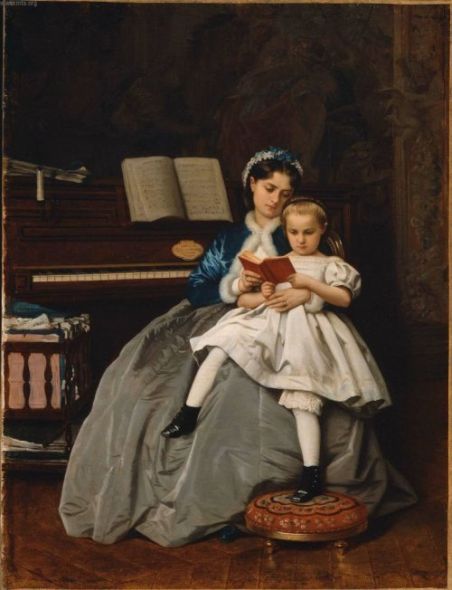 "the-garden-of-delights:  ""Reading Lesson"" (1865) by Auguste Toulmouche (1829-1910)."