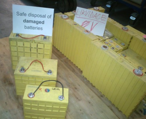 Safe Disposal of Damaged Batteries Some times it happens that the LiFePO4 cells or batteries get damaged due to an improper use such as deep discharge or over charge.  Such cells or batteries cannot be repaired and must be disposed of properly.If necessary, to dispose of damaged batteries with LiFePO4 technology, we strongly recommend that you first discharge down to 0V [zero] and then link the terminals of the cell or battery with a simple wire jumper. This way you will prevent from the battery to regain some energy from the continuation of the chemical processes.