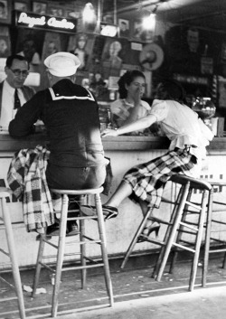 vintagegal:  Sailor on shore leave sitting at a soda fountain with young woman. San Diego, 1937 (x)