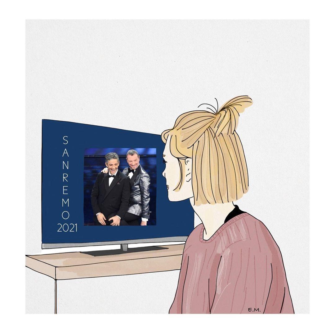Sarà che è un'edizione unica. Sarà che partecipano i miei adorati Tre allegri ragazzi morti (bacini e R'n'R 🍀) Ma quest'anno Sanremo mi emoziona.(Abbiamo veramente voglia di ridere? O di vedere cantanti in tv dopo che non andiamo a concerti dal vivo da un anno? Non lo so. Però so che abbiamo bisogno di leggerezza.) #sanremo2021#illustration#illustrationoftheday#illustratenow#illustrateyourworld#digitalillustration#digitaldrawing#sketch#sketching#sketches#digitalsketch#bamboopaper#lelisketch