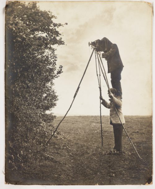 "tuesday-johnson:  ca. 1900, [albumen portrait of Cherry Kearton standing on his brother Richard's shoulders to take a picture of a bird's nest]    The brothers were pioneers of wildlife photography, and in 1892, took the first ever photograph of a bird's nest with eggs. In 1899 they published ""With Nature and a Camera"", illustrated with 160 photographs. Richard went on to develop the 'photographic hide' after a series of experiments, one of which involved hiding in a stuffed ox in order to obtain better pictures.    via the National Media Museum, Royal Photographic Society"