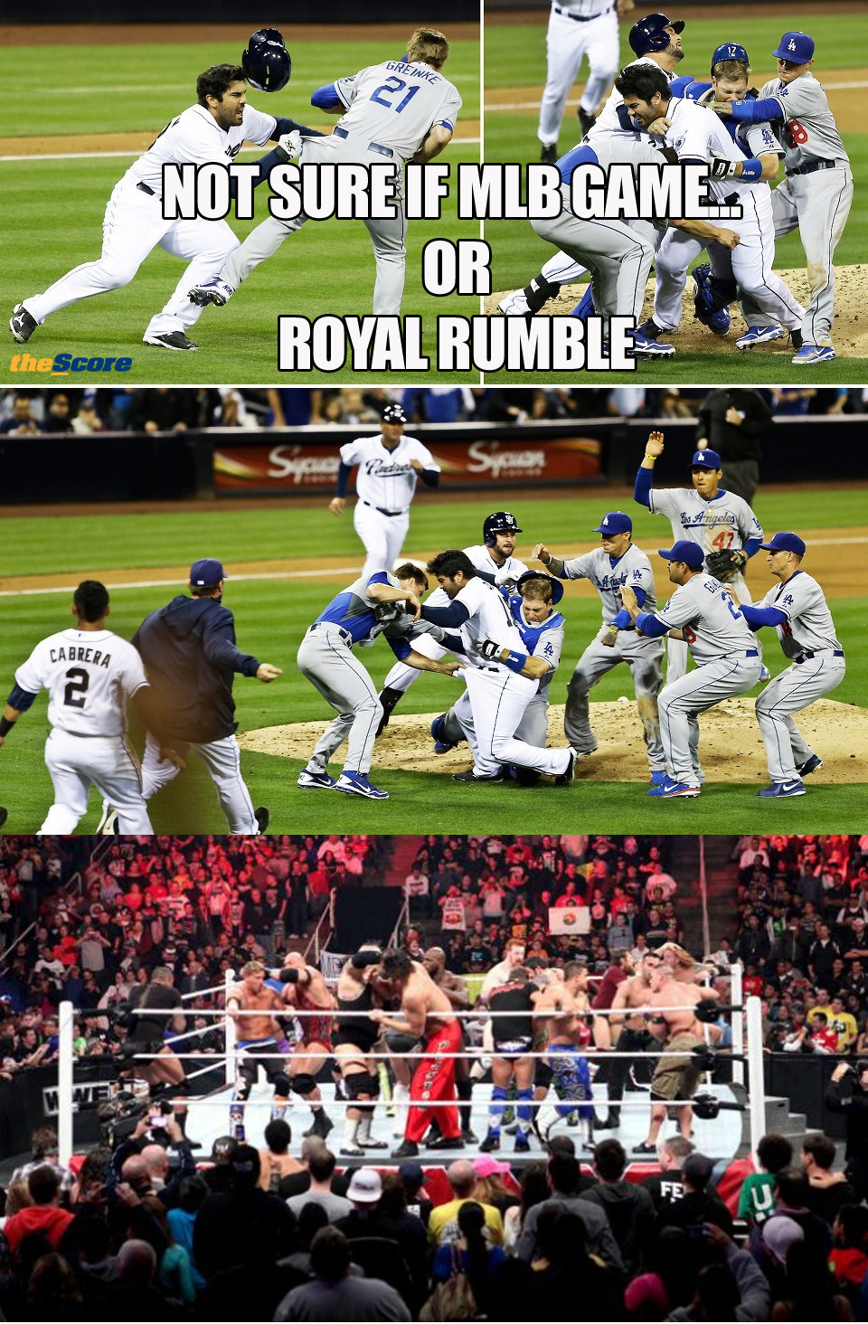 Photo: Not sure if MLB Game OR Royal Rumble. 4 players were ejected from yesterday's San Diego Padres and the Los Angeles Dodgers.