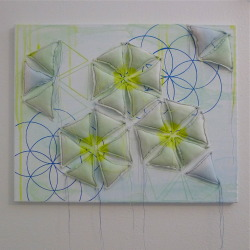 acrylic, fabric, and thread on canvas. may 2013