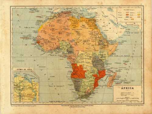 Antique Map of Africa 1899 at CarambasVintage http://etsy.me/YuIAcK