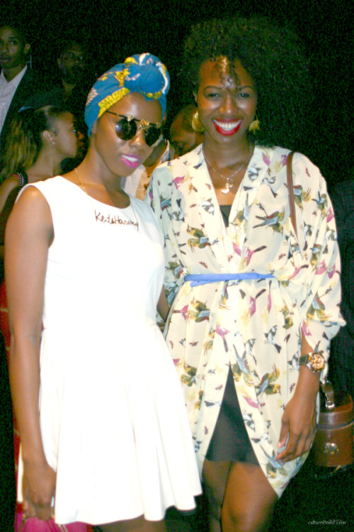 "STREET STYLE | Cultural Toast, ""Joy Adaeze and Enyinne Owunwanne's ARISE African Icons Front Row Style"" September 09, 2012 - ""Heritage 1960′s Founder and Creative Director Enyinne Owunwanne and stylist/fashion writer of Joy Loves Fashion Joy Adaeze's front row style at ARISE African Icons Spring 2013 show was inspiring from hair to accessories! I enjoyed the flying birds printed flowy top Enyinne won with a chic tiny blue belt and her gold Fulani earrings! Is the printed shirt the trend of the season?"" Continue reading here."