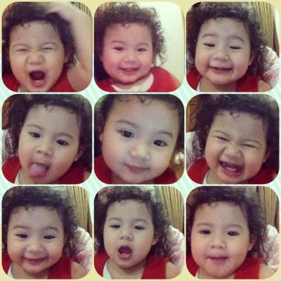 Mukanya hampir ketutupan rambutnya sndri .-. #expressions of #baby #hana .. She's just a kid n she's on fire~
