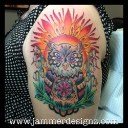 Added a sun to Heather's sugar owl today. #sun #mandala #tattoo #tattoocollective #owl #sugarowl #jamiesawyer #jammerdesignz #immortalinknj (at Immortal Ink)