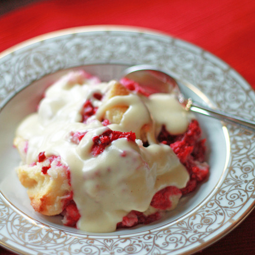 raspberry bread pudding with vanilla sauce click here for recipe
