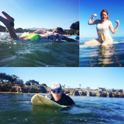 Playing around in the big blue with my favorite peeps. 🌊 (at Isla Vista Beach)