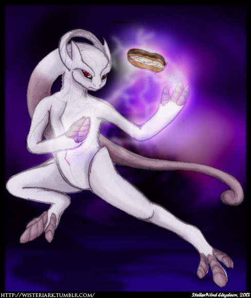 So apparently the poster that revealed Asshat Mewtwo referred to it as Éclair Forme. I know it's probably supposed to refer to the French word for lightning (y'know, as if this region wasn't French enough without Mewtwo going OH HOH HOH on us), but… Éclair. And that explains the new forme: he just couldn't keep the creamy filling in his genes.Edit: Apparently it's just Awakened Forme. Ah well. Éclairs.
