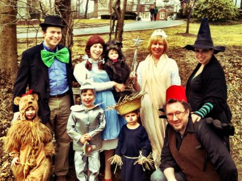 """Here is the Wolkenfeld Family dressed for Purim 2013. The theme was chosen collectively, and the kids worked out who should be which character. Top row, from the left: Rabbi David Wolkenfeld, Sara Wolkenfeld holding Sophie (age 1) Grandma Jo Lang, Aunt Debra Tillinger. Bottom row: Hillel (age 4), Noam (age 6), Akiva (age 4), and Uncle Richie Miller."" Have a great Oz photo? Click here to submit it to NPR's Backseat Book Club."