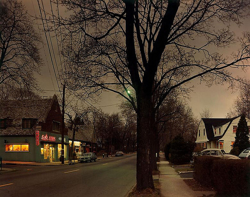 fuckyeahvintage-retro:  Dusk. New Jersey, 1978 © Joel Meyerowitz  Am I weird for loving this so very much? It's just a simple picture of a place I've never seen, and a decade I'll never see, but I still love it.