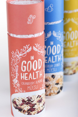 designersof:  In Good Health is a brand of muesli aimed at the average, middle-class consumer. Nowadays, a lot of people are aiming to be much more conscious of their health, and what they are putting into their bodies. Muesli is a great addition to anyone's day. High in fiber, and vitamins; it is guaranteed to start your day off correctly. It is based on the recipe created by the Swiss in the early 1900s, using dry oats and various dried fruits, nuts and seeds. It can be mixed with milk or yogurt! In Good Health promotes healthy nutrition through making its' consumers aware of the valuable nutrition packed into each serving of muesli through illustrations on the package. Additionally, it makes measuring these servings easy by having the lid serve the dual purpose of also equaling exactly one serving! Through In Good Health's playful illustration, healthy nutrition, and easily used packaging; it is sure to break into the breakfast cereals market with ease! Check out more photos on Behance! Portfolio | Twitter
