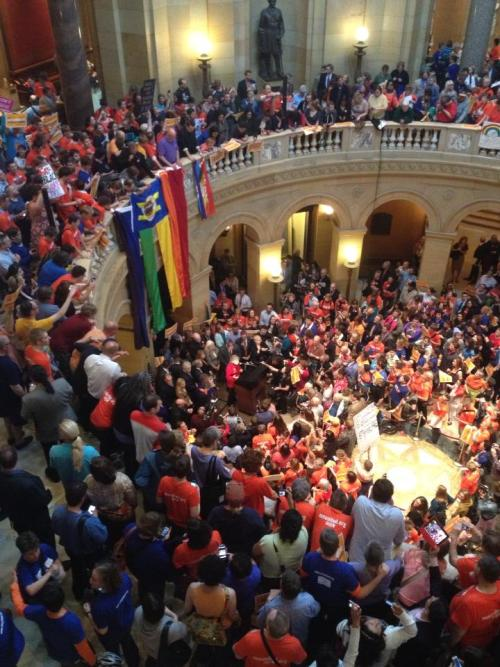 harrrymonster:  Marriage equality passed the Minnesota House today. No one's wedding bands mysteriously turned from gold to brass. No one's marriage certificate suddenly shredded itself. No one's marriage is less-legal because of what has happened today. Now we wait until Monday, when the MN Senate votes.