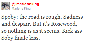 foreverandalwayslittleliar:  They are kissing in the finale!!!!!! Marlene said said it so they are!!!so shut up no one goes down with this ship IT IS NOT ENDGAME;REPEAT;ITIS NOT ENDGAME