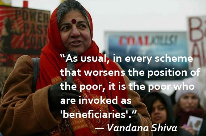 thepeoplesrecord:  Today we honor Vandana Shiva, because as the corporate oligarchy continues to destroy our planet, it is clear that we need more leadership like hers: Video of Vandana Shiva on Bill Moyers' show back in July. Here is a list of additional quotes by Vandana Shiva. This is Vandana Shiva in February @ ISFIT 2013: Changing Norms. This is Vandana Shiva @ Rio2012. This is Vandana Shiva talking about the capitalist patriarchy in March 2013 on Democracy Now with Amy Goodman. All of these available on our Facebook page: (links: Tumblr | Facebook | Twitter)