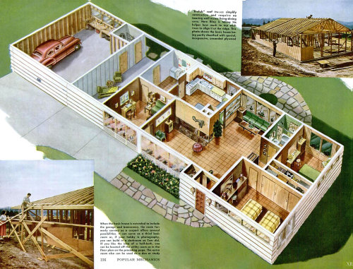 1951 Basic Home Floorplan | Popular Mechanics - Via