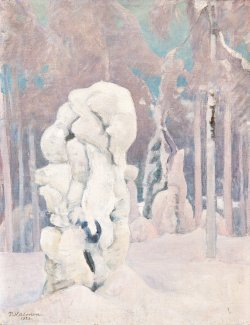 blastedheath:  Pekka Halonen (Finnish, 1865-1933), Winter in Kinahmi, 1923. Oil on canvas, 65 x 50 cm.