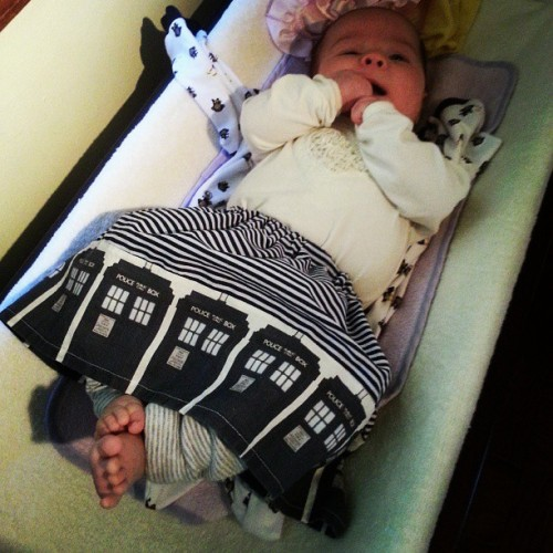 Daddy's Little TARDIS. Her diaper is bigger on the inside.