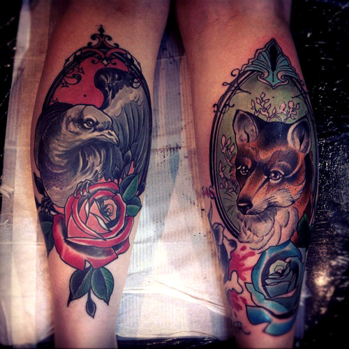 thievinggenius:  Tattoos done by Tiny Miss Becca.