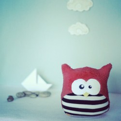 Lets go to the sea.! #bouboux #owl #plush #handmade #sea #boat #cloud #instagood #kawaii