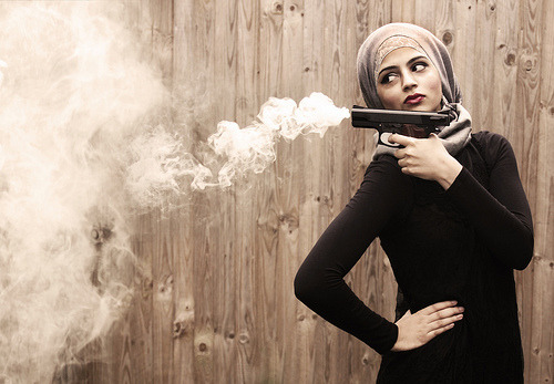 "halivsworld:  Hijabi's need to watch out if they choose to own a gun. Unlike Christian, catholic, and Jewish girls  Muslim girls will be called ""terrorists"" if they try to obtain one for their own protection like everyone else."