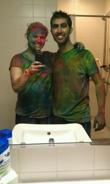 We played Holi at school this past weekend. It was almost as much fun as Holi in India. Also look at this cute boy. I like him.