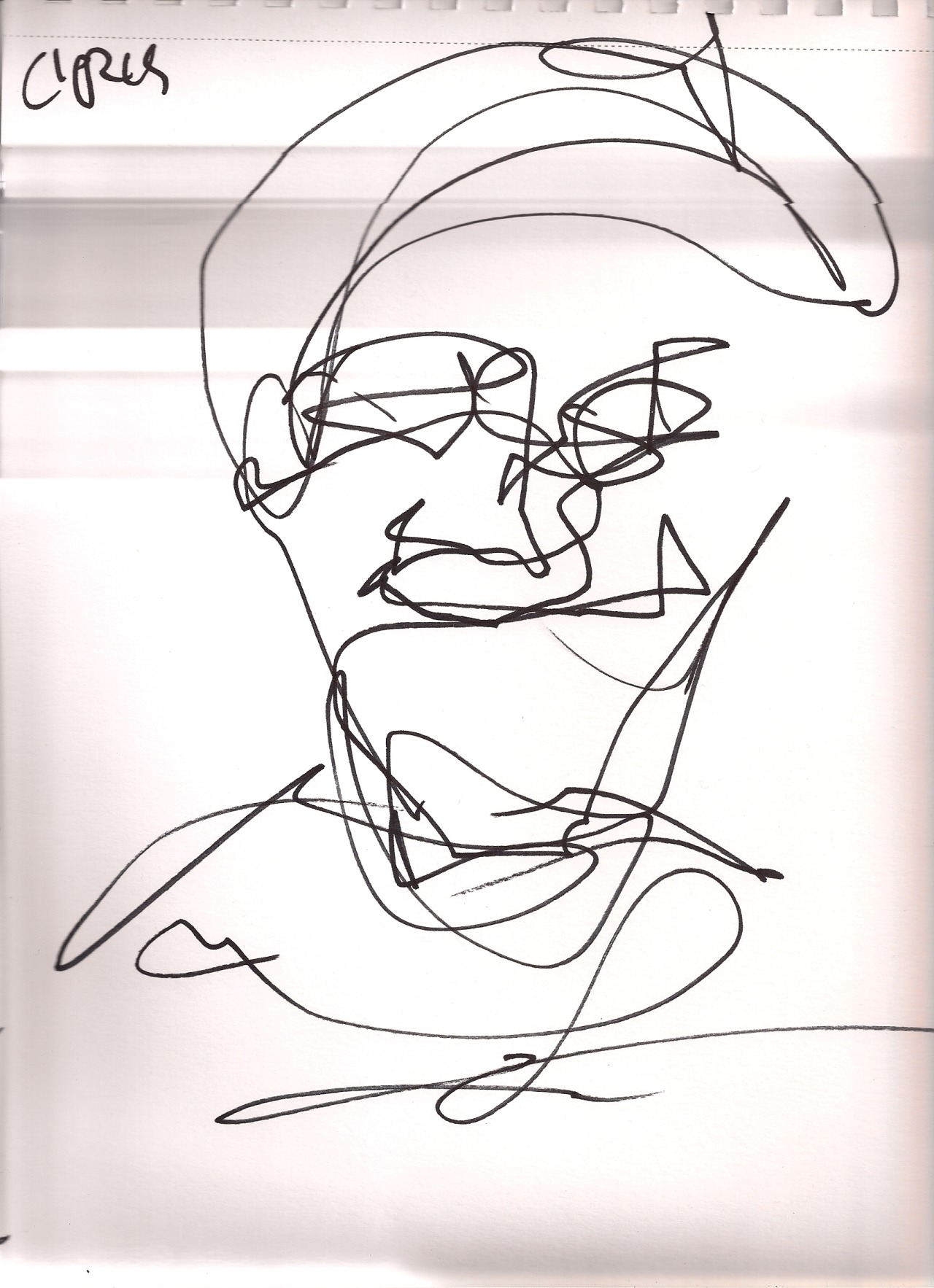 My friend, Steve, drew this blind contour portrait of Chris Intagliata as part of his talent performance at our 4th Annual holiday party in Dec 2012.