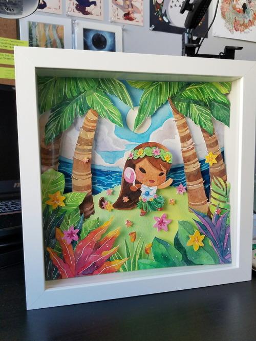 my artwork watercolor paper cut shadow box aloha lolligag painting art artists on tumblr
