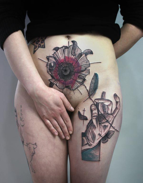 thievinggenius:  Tattoos done by Peter Aurisch.