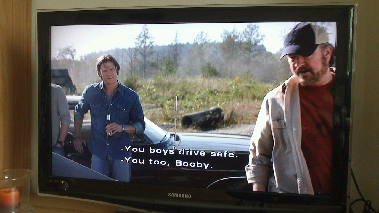 right-in-the-destiel:  so I was watching supernatural with the subtitles on and then.. You too, Booby BOOBY I'm so done.