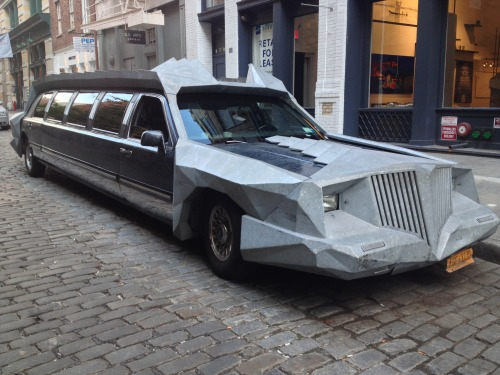 I'm still trying to figure this limousine out. I was walking around on Greene Street in NYC's SoHo and completely lost my mind when I saw this. I tried to find out who was in the car, but had no luck. How did they add on the cool Batman looking gear? I feel like this would be some shit Lady Gaga would rock. Photo by Ruddy Harootian