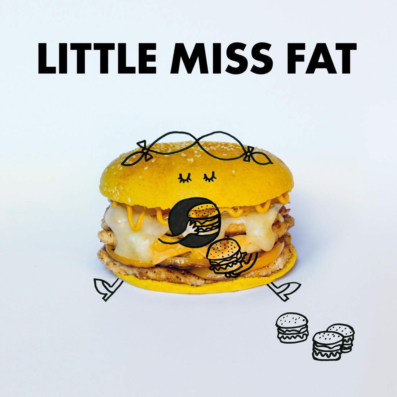 fatandfuriousburger:  Little Miss Fat Burger. Bun au curry. Aiguillettes de poulet panées. Poivrons jaunes. Cheddar, cantal, emmental fondus. Moutarde French's et moutarde Colman's.