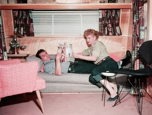 "grannyspanties:  Lucille Ball and Desi Arnaz in ""The Long, Long Trailer"" (1953)"