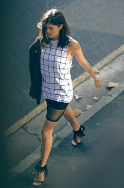 what-do-i-wear:  Cameo Tank – Geneva's DIY Skirt – Versace Blazer from VOI Store – A Pair & A Spare for Tony Bianco Kloe Heels (image: apairandasparediy)