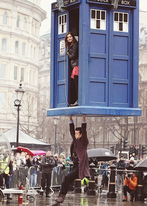 doctorwho:  Jenna and Matt on set of the Doctor Who 50th Anniversary Special in Trafalgar Square. (Watch Matt's video update from the set here.)