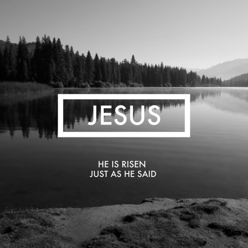 "nonelikejesus:  ""He is not here; he has risen, just as he said. Come and see the place where he lay."" Matthew 28:6"