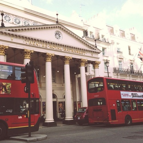 To the theatre.  (at Theatre Royal Haymarket)