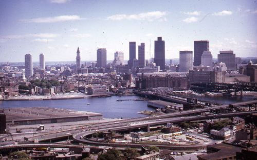 Boston skyline from the Bunker Hill Monument, 1973 June, , Peter H. Dreyer slide collection, Collection #9800.007, City of Boston Archives.  This work is free of known copyright restrictions.  Please attribute to City of Boston Archives and credit Peter Dreyer.. For more images from this collection, click here