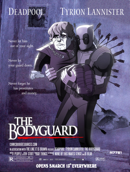 xombiedirge:  Deadpool x Tyrion: The Bodyguard by Marco D'Alfonso / Website / Tumblr / Store  hahahahaha that is awesome