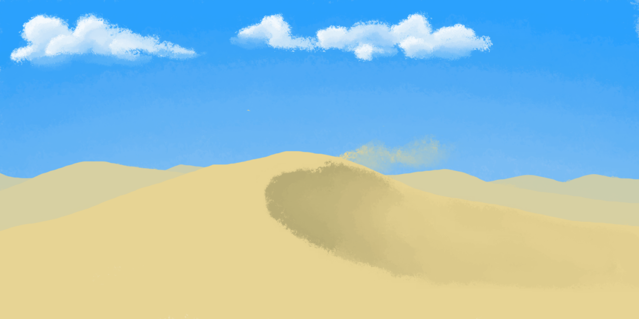 Environment Challenge desert so i decided i'm not going to do this with all of the speed painting constraints. i just need some time to improve on my foundations before i start trying to work on speed. i'll redo the first few of these, and i'll complete them over the span of a few sessions, so maybe not every day, but frequently enough. what i learned from today's drawing: screw speed painting. i really like the texture of that acrylic brush, but sometimes it's just better to have hard edges.