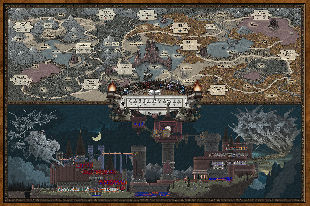 tinycartridge:  Amazing Castlevania map by Bill Mudron It comes in both black-and-white and full color, and i is just so incredible to look at. Think it would be appropriate for a baby room? Asking for a friend. You can pre-order this now for $45. Mudron's also working on an underworld map of The Legend of Zelda:  BUY  Castlevania: Mirror of Fate, upcoming games