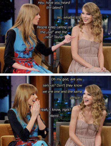 "I was scrolling through my News Feed, and I saw this picture. I loved Taylor since I was 10. She was still curly back then, I was also curly before. I love to listen to her songs. I was Swiftyfied by her songs. I admire her beauty so much and also her sweet and charming personality. I continued being a fan of Taylor Swift. She got her hair straight. When I turned thirteen, I got my straight, no bangs though. Today, people says she's no longer the Swift we know. I really don't care about what people thinks. I'll let them hate Taylor, it's their life. But I'll never stop being her fan, just because of the talks that ""she's not the same Taylor we know, blah-blah."" I believe that the Taylor I love since I was ten hasn't change at all. Her outside looks, the number of her awards, and the number of guys she dated changed though. The blonde, charming and sweet Taylor I know and I loved before is still the same right now.<3 13"