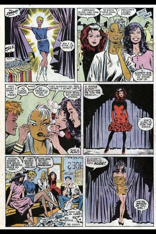 bigredrobot:  jeweledlight:  I love X-ladies Uncanny X-Men vol 1 #244, May 1989  Elizabeth Braddock … is … RUUUDE!