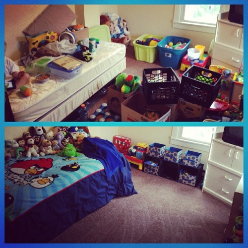 #photoanhour 12 pm - (a little late) Cleaned Rowan's room. Before & After