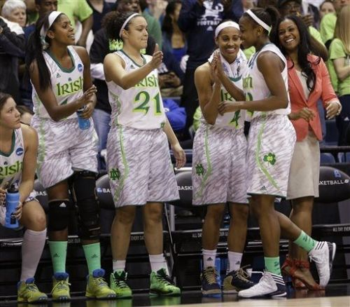 Notre Dame guard Jewell Loyd, right is welcomed to the bench by teammates Notre Dame guard Skylar Diggins, second from right, Kayla McBride (21) and Ariel Braker (44) during the second half of a regional semi-final of an NCAA college basketball tournament Sunday, March 31,2013 in Norfolk, Va. (AP Photo/Steve Helber) (via ESPN Photo Wire - ESPN)