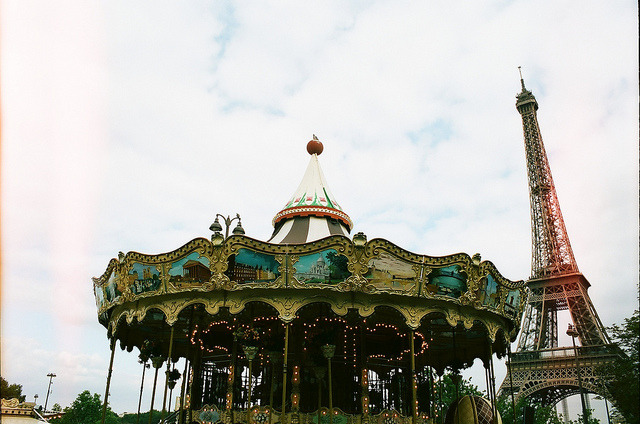 | ♕ |  Paris carousel under the Eiffel  | by © James Doyle