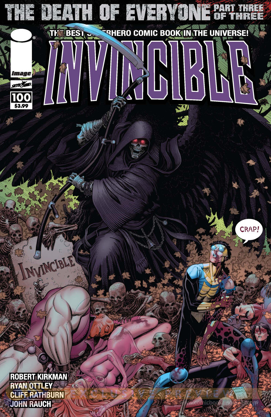 This is the variant cover for Invincible #100, drawn by Art Adams.