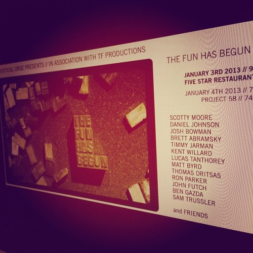 And so it begins, the fun that is. @thefunhasbegun film premiere Thursday January 3rd, Five Star Restaurant, 9pm. #tfhb #01032013 (at 780p)