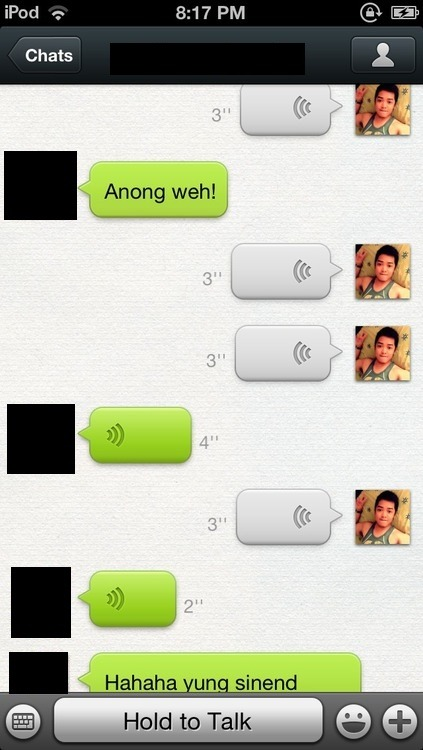 Conversations on WeChat look like this.. Puro voice notes. lol WeChat ID: clydiee